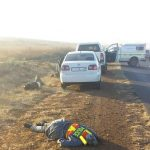 MOTORIST DIES FROM AN ALLEGED SHOOTOUT WITH TWO ARMED HIJACKERS.
